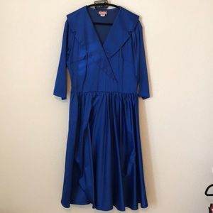 Pinup Girl Clothing Royal Blue Birdie Dress